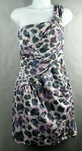Maggy-London-Dress-Size-14-Mini-one-Shoulder-Purple-print