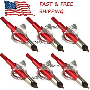 6-12pc-Broadheads-100-Grain-Arrow-Head-Metal-Arrowheads-Points-Tips-Hunting-USA