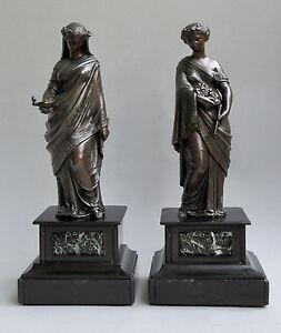 Zwei-Skulpturen-Frauen-in-antiken-Gewaendern-Vestalinnen-Metall-um-1900-Marmor