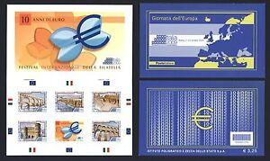 Italien-2009-10-Jahre-EURO-Mitlaeufer-Markenheftchen-Booklet-Nr-3348-52-mnh
