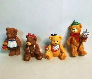 Vintage-BC-Bronson-Collectibles-Bears-Porcelain-Decorative-Figurines-Lot-of-4