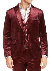 INC Mens Blazer Red Size Large L Velvet Slim Fit Notched Two Button $149 049