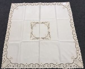 Beige Ivory Embroidered Floral Cutwork 54x54 Square Coffee Table