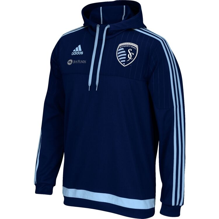 Adidas Sporting Kansas City SKC MLS 2014 - 2015 Soccer Travel Hooded Top Navy