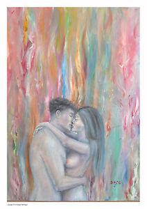 Coppia Abbraccio Amanti Passione Nudo Pittura Wall Art Arte
