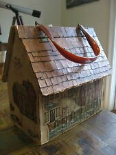 VTG House Wood Box Purse Fishing Shack Lighthouse Handbag Lucite Craft Storage