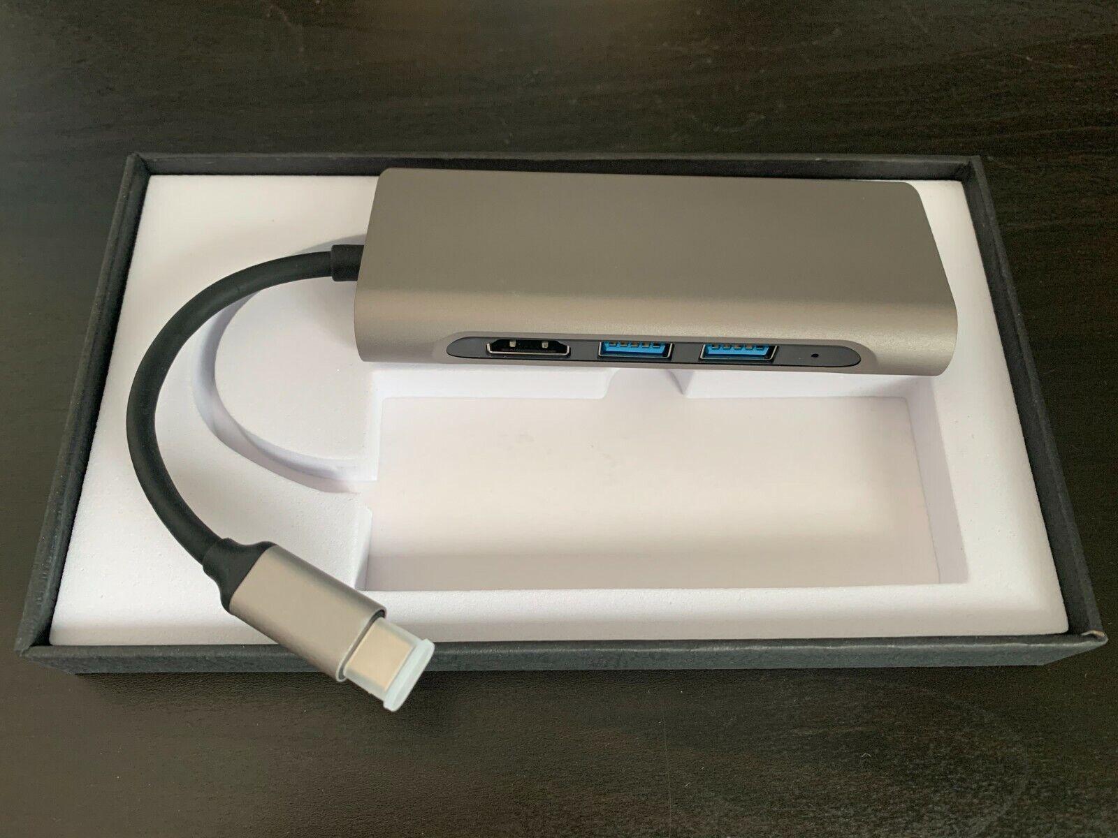 7-in-1 Hub Adapter USB TypeC Hub HDMI, 2 USB 3.0,SD, Micro SD, Super Gigabit LAN
