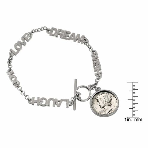 Year to Remember Inspirational Dream Wish Love Laugh Joy Dime Coin Bracelet 1956