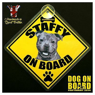 Staffy Dog on Board car signs. LIMITED OFFER-BUY ONE GET ONE FREE!