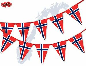 Norway-Full-Flag-Patriotic-Themed-Bunting-Banner-15-Triangle-flags-National