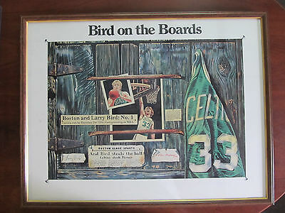 *VINTAGE*   BOSTON CELTICS LARRY BIRD LITHOGRAPH  -  BIRD ON THE BOARDS  1987