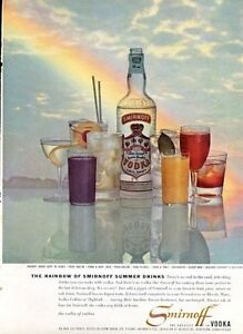 1958-Smirnoff-PRINT-AD-Vodka-Vintage-Bottle-Various-Drinks