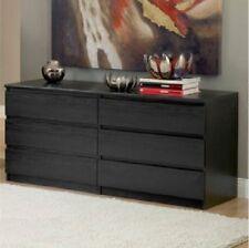 6 Drawer Dresser Chest Wood Storage Organizer Black Bedroom ...