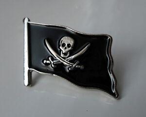 ZP123-Pirate-Flag-Skull-Cross-Sword-Lapel-Pin-Badge-Biker-Motorcycle-Jolly-Roger