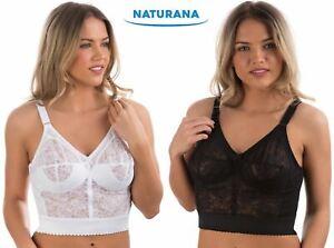 Ladies-Naturana-Soft-Cup-Long-Line-Comfort-Bra-8000-White-or-Black