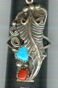 Free-form-Turquoise-and-Coral-Cabochons-Set-in-Sterling-Silver-Size-7-1-2-Ring