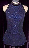 Black W/ Turquoise Blue Ice Skating Competition Dress / Girls Large 12 / 14