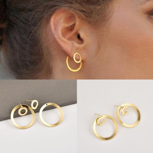 Women Vintage Chic Round Drop Dangle Gold Alloy Hoop Ear Studs Earring Jewelry
