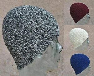 48f357b7587 Mens Womens Plain 100% British Wool Beanie Hat Hats   Cashmere lambs ...