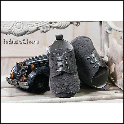 Baby Boys Grey Graphite Suede Christening Wedding Pram Shoes Smart Formal Party