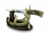 Carved Look Handle Decorative Deer Knife W/antler Display Stand, New, Free Shipp on Sale