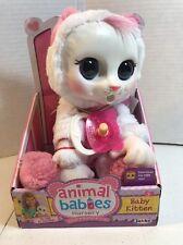 """Animal Babies Nursery Baby White Kitten 12""""H Plush New"""