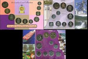 SRI-LANKA-SET-10-COINS-1-50-CENTS-1-10-RUPEES-ARMORIAL-ENSIGN-1973-2004-UNC