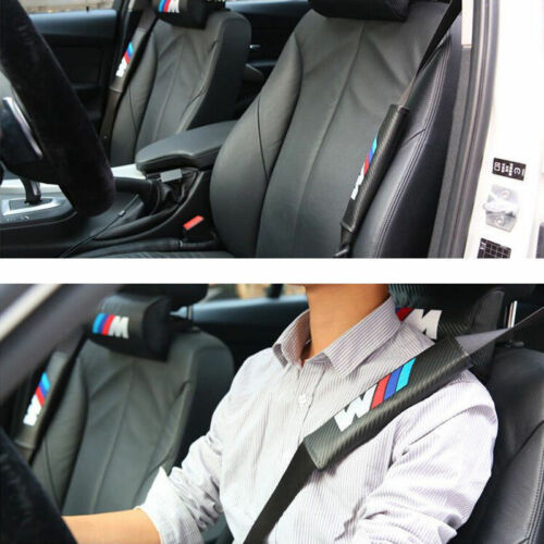 2x Car Carbon Fiber 3D Embroidery Italy Flag Seat Belt Safety Shoulder Pad Cover