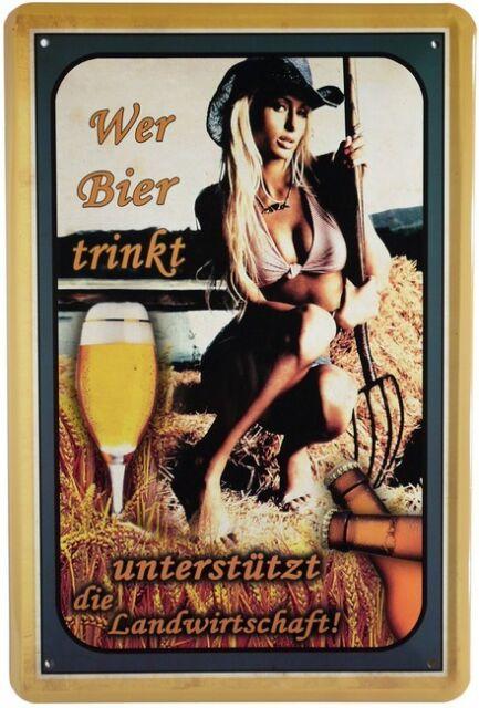 Wer Bier trinkt Sexy Girl Blechschild 20x30cm Retro Reklame Metallschild 527