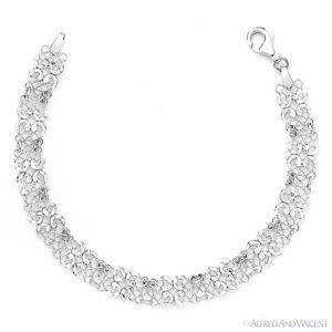 925-Italy-Sterling-Silver-Diamond-Cut-Filigree-Mesh-Link-Italian-Chain-Bracelet