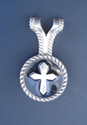 Western Jewelry Black Epoxy Silver Cross Concho Pendant Kit