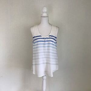 Joie-Sleeveless-Women-s-Silk-Blouse-White-Blue-Stripes-Size-S-Ombre-High-Low-NWT