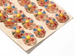 Card-24-18mm-vtg-Deco-Czech-hand-painted-rosaline-daisy-flower-glass-buttons