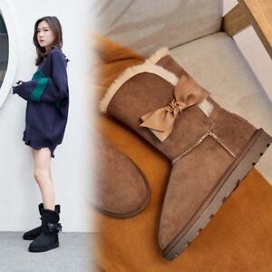 Womens-Ladies-Fashion-Leather-lamb-Fur-Bow-Tie-Winter-Warm-Snow-Boots-Shoes-XUNL