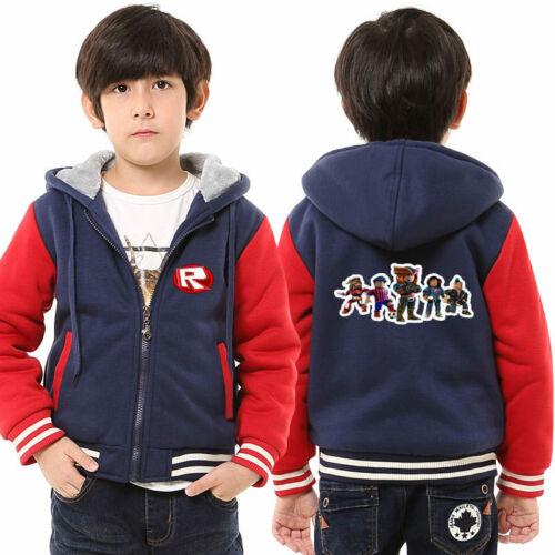 Roblox Print Hoodie Girls Boys Coat Thicken Fleece Sweatshirt Camo Jacket Tops