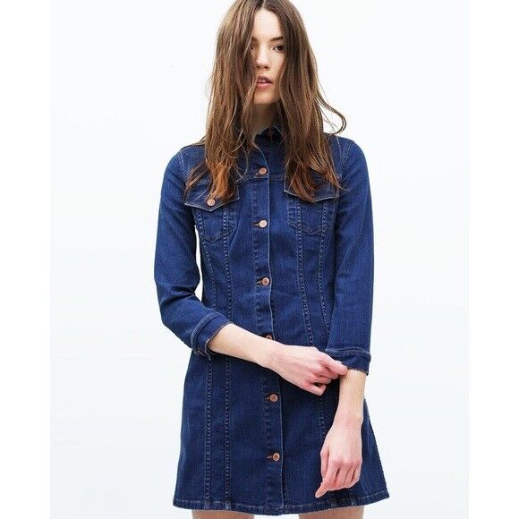 Zara • New Premium Denim Jean Jacket Shirt Dress Sz S