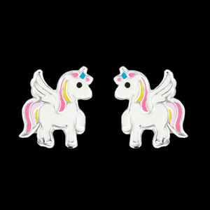925-Sterling-Silver-Unicorn-Stud-Earrings-Light-Pink-White-Tail-Wing-Children