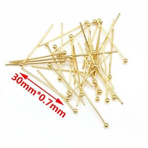 100pcs Gold Tone Stainless Steel Ball Head Pins for Jewelry Making 20/25/30/40mm