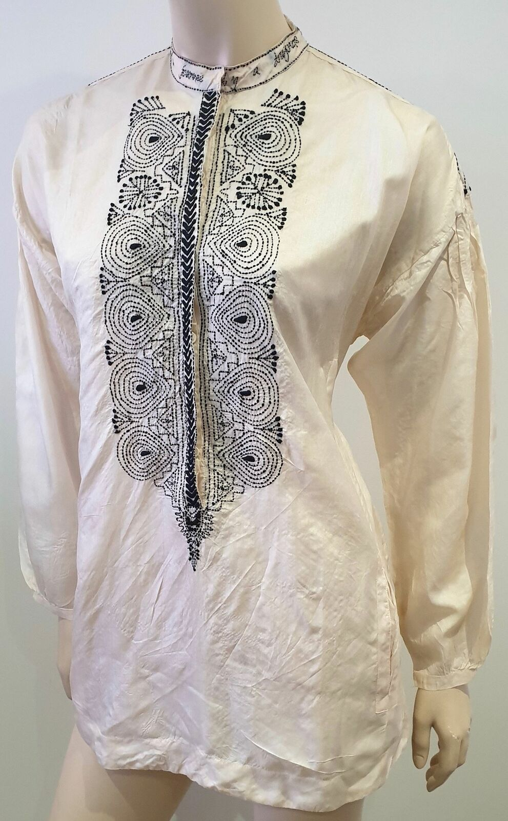 DAY BIRGER ET MIKKELSEN Pale Pink Silk Embroidered Blouse Shirt Top DK34 UK8