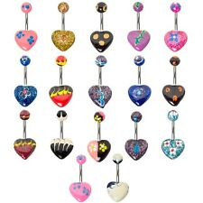 17-Piece Hand Made Heart Shaped Belly Rings with 14G 316L Surgical Steel Shaft