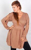 Zd711 Brown Blouse Top Dress Mini Wrap Cross Over Jersey L Xl 1x One Size
