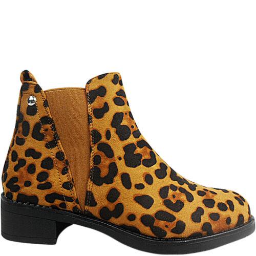 Womens Ladies Low Heel Chelsea Gusset Ankle Boots Shoes Size Biker LEOPARD PRINT
