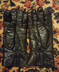 009-Vintage-Finale-Womans-Gloves-Brown-Leather-Size-Large-Winter