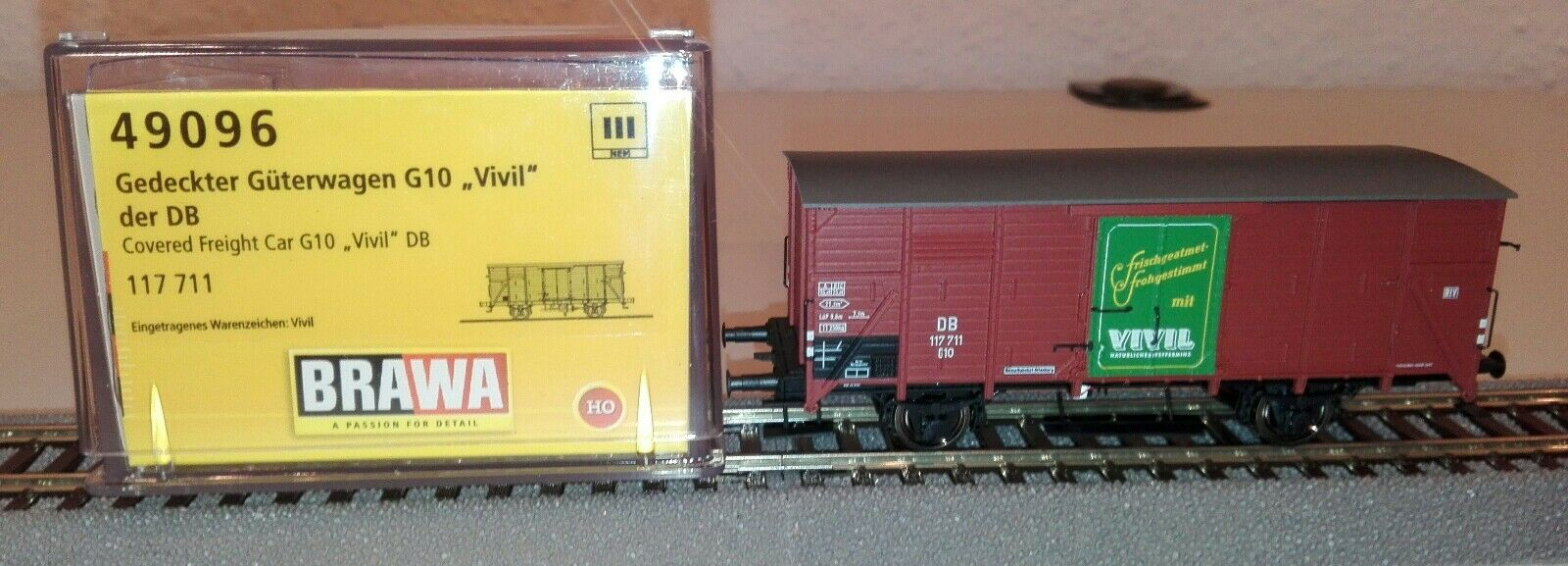 BRAWA H0 49096 Güterwagen G10 DB, Ep. III, VIVIL DC NEUWARE