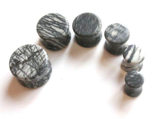 6-16mm Natural Zebra Striped Gem Stone Earring Tunnel Ear plug Stretcher Saddle