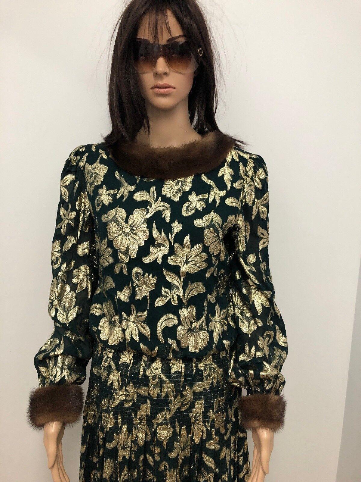 3000 Raul Raul Raul whiteo golden Green Maxi Evening Dress Mink Fur Neiman Marcus Sz.10 M 6aa344