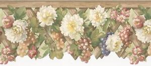 Wallpaper-Border-White-amp-Coral-Flowers-Floral-with-Purple-Grapes-on-Lattice