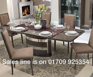 Details About Platinum Italian Silver Birch High Gloss Extending Dining Table 6 Chairs
