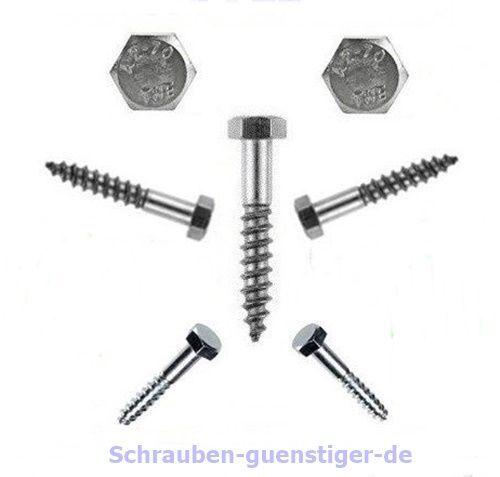 hexagonal tornillos de madera 5 mm din 571 5 x 50 acero inoxidable-Profi-calidad 20 unid braguitas