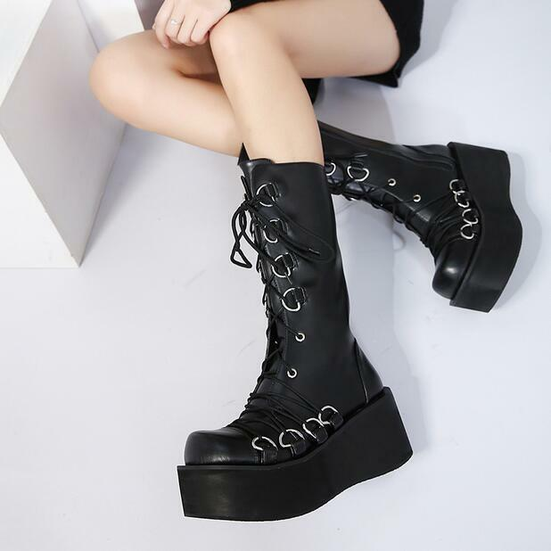 Women's Lace Up Mid-calf Boots Wedge High Heel Round Toe Platform Punk Shoes sbo